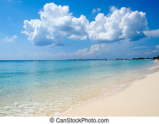 Caribbean Beach and Clouds - Beautiful Seven Mile Beach in...