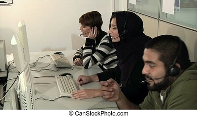 Multimedia language course - Panning on multi-ethnic group...