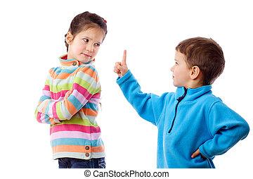 pelea, dos, niños