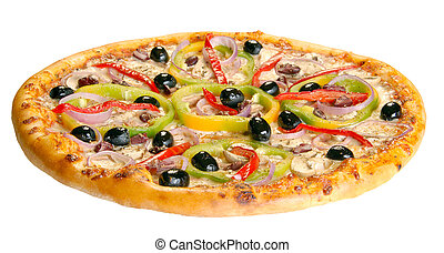 Pizza isolated with olive and pepper