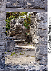 Path through Mayan Ruins at Tulum - Path leading through...