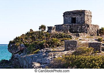 Mayan Ruins above the Ocean at Tulum - Mayan ruins perched...