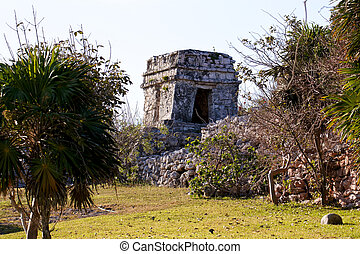 Mayan Ruins in a Park at Tulum - Mayan ruins among the...