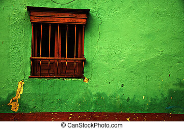 Green Colonial Wall - An old green colonial wall in the...