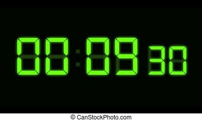 LED Countdown Green HD - Computer generated animation of...