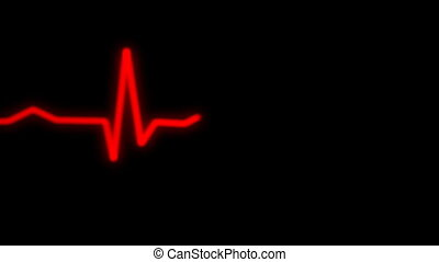 heart rythm on ecg monitor in red
