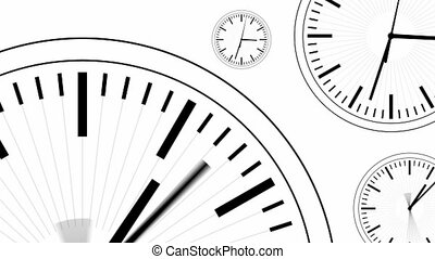 Clocks Modern Style Dials Mono HD - Black and white simple...
