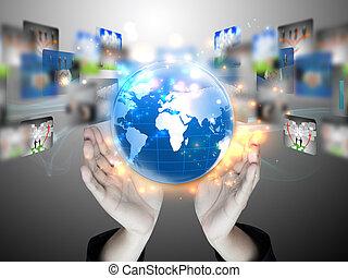 negócio, terra, globo, seu, mãos