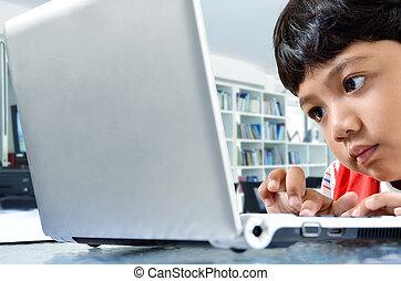 computador, criança