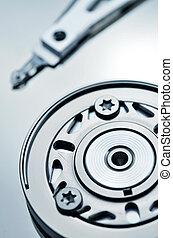 Computer Hardisk Internal Mechanics - Artistic shot of a...