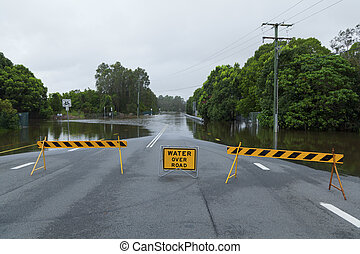 Flooded road in Queensland, Australia