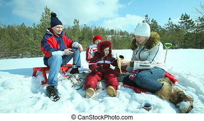 Winter picnic - Family having a picnic near the winter...