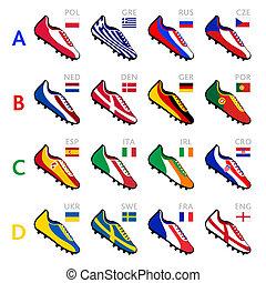 サッカー, チーム, 靴