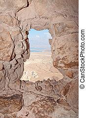 Porthole in Masada ruins