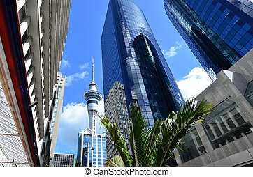Travel Photos NZ - Auckland Cityscape - The Sky tower in...