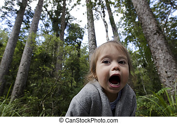 Childhood - Happiness - A girl screams in the forest