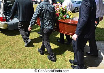 Ilustración, fotos, -, funeral, ceremonia