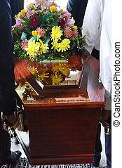 Ilustração, fotografias, -, funeral,...
