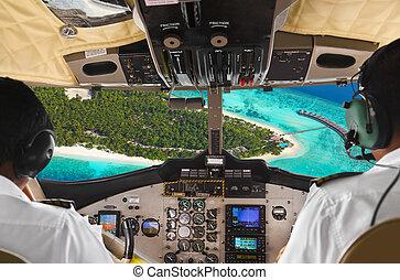 Cabina de piloto, isla, avión, Pilotos