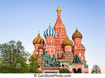 Saint Basil Cathedral on Red square, Moscow at sunset -...