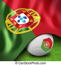 Soccer ball and flag euro portugal for euro 2012 group b