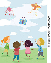 Kids Flying Kites - Illustration of Kids Flying Kites