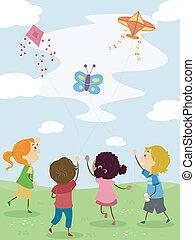 Kids Flying Kites - Illustration of Kids Flying Kites