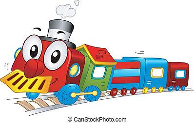 jouet, train, mascotte