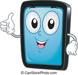 Tablet PC Mascot - Illustration of a Tablet PC Mascot Giving...