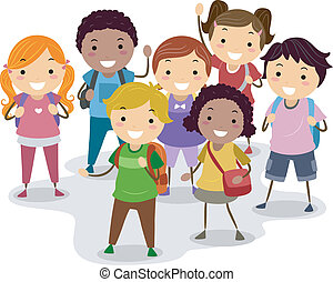 School Kids - Illustration of a Group of School Children