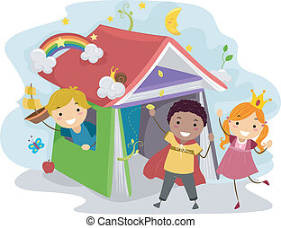 Children's Book - Illustration of Kids Acting Out Stories...