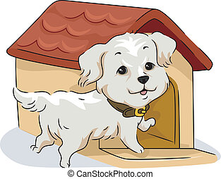 Dog House - Illustration of a Golden Retriever and His Dog...