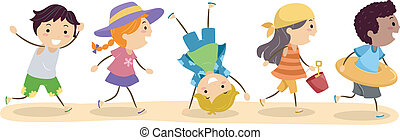 Going to the Beach - Illustration of Children going to the...