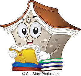 Library Mascot - Illustration of a Library Mascot Reading a...