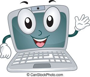 Laptop Mascot - Illustration of a Laptop Mascot Waving...