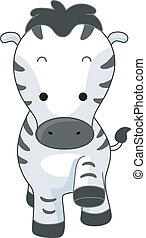 Zebra - Illustration of a Walking Zebra