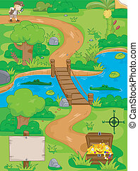 Treasure Hunt Map - Illustration of a Treasure Hunt