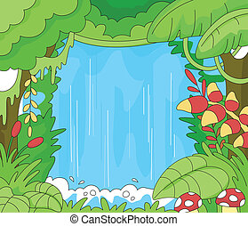 Rainforest Scene - Illustration of an Undisturbed Rainforest