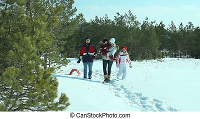 Snowy walk - Parents and children walking together through...