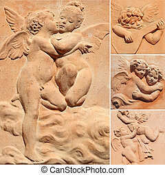 angelic colllage - collection of decorative reliefs with...