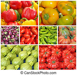 healthy food collage - collage with various fresh vegetables...