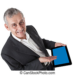 business man with modern tablet pc