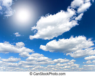 Blue sky, sun and various cloud formations