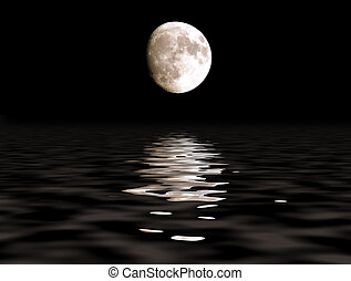 moon path - Full moon over the ocean with lunar path Craters...