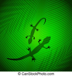 Lizard shadow on banana leaf in the tropical sun