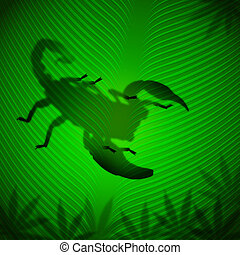 Scorpion shadow on banana leaf in the tropical sun