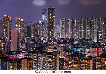 Hong Kong crowded urban city at night