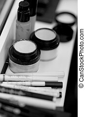 makeup artist tools on the table outside