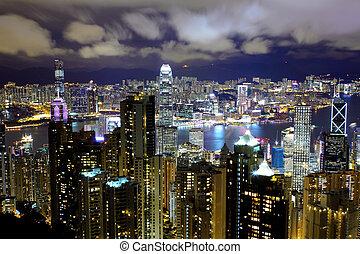 Hong Kong view from the peak at night