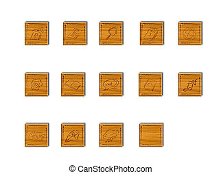 wooden application icons for web and application on modern...